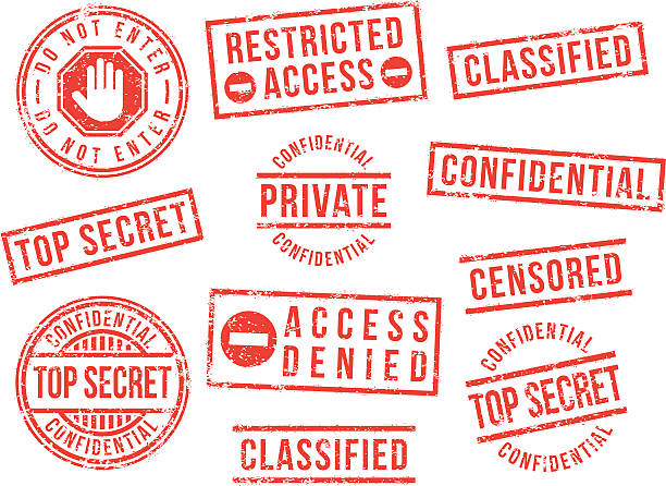 Top secret rubber stamps Confidential, top secret, private, rubber stamps. confidential stock illustrations