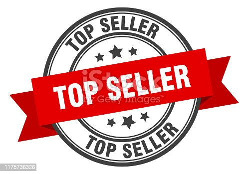 top seller label. top seller red band sign. top seller