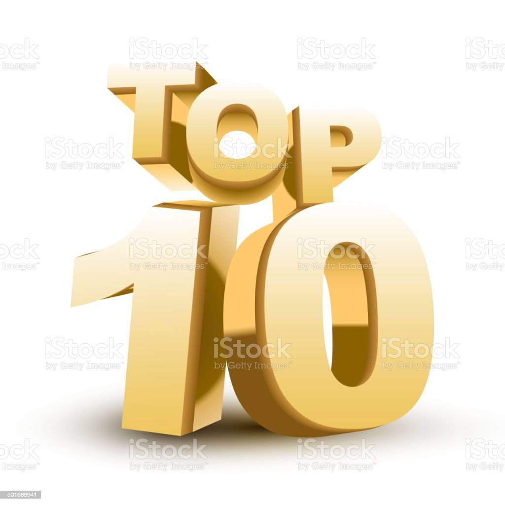 Top ten golden word vector art illustration