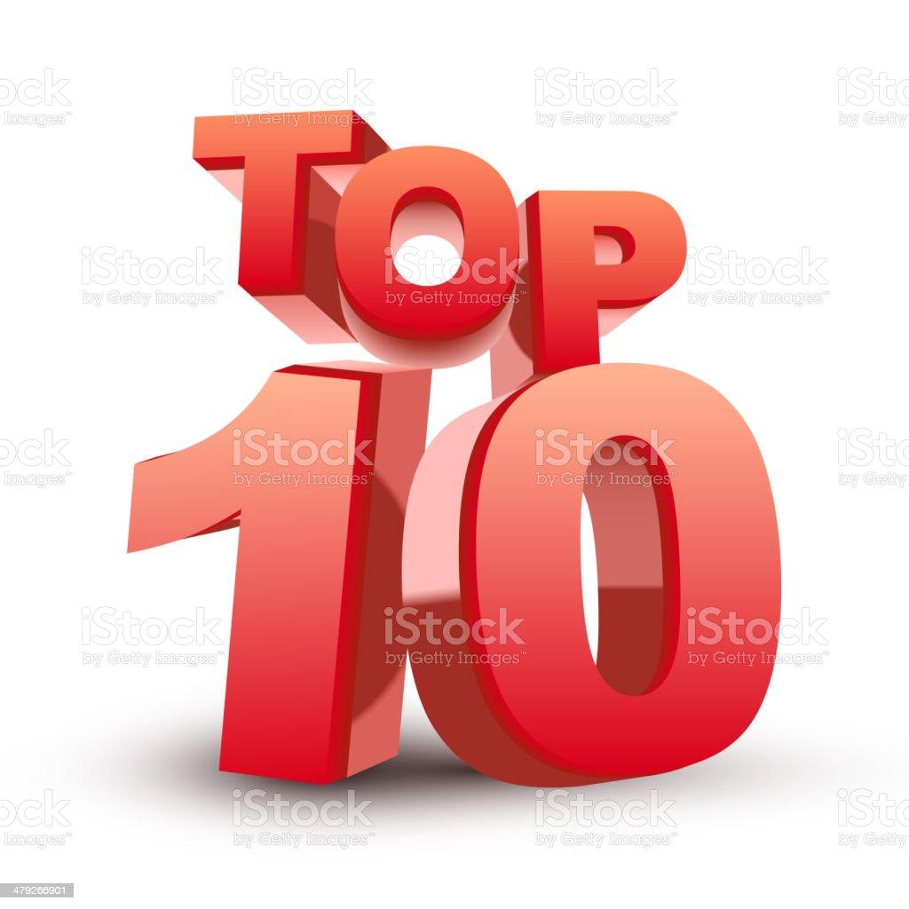 Top ten red word vector art illustration