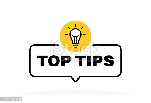 istock Top tips geometric message bubble with light bulb emblem. Banner design for business and advertising. Vector illustration 1307462728