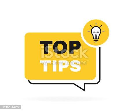 istock Top tips geometric message bubble with light bulb emblem. Logo design. Vector illustration 1282944258