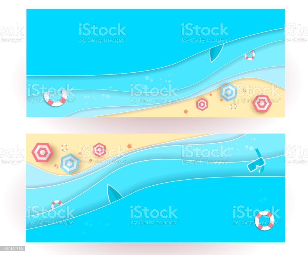 top view beach background with umbrellas,balls,swim ring,sunglasses,surfboard,hat,sandals,juice,starfish and sea. aerial view of summer beach in paper craft style.paper cut and craft style. vector. - arte vettoriale royalty-free di Anguria