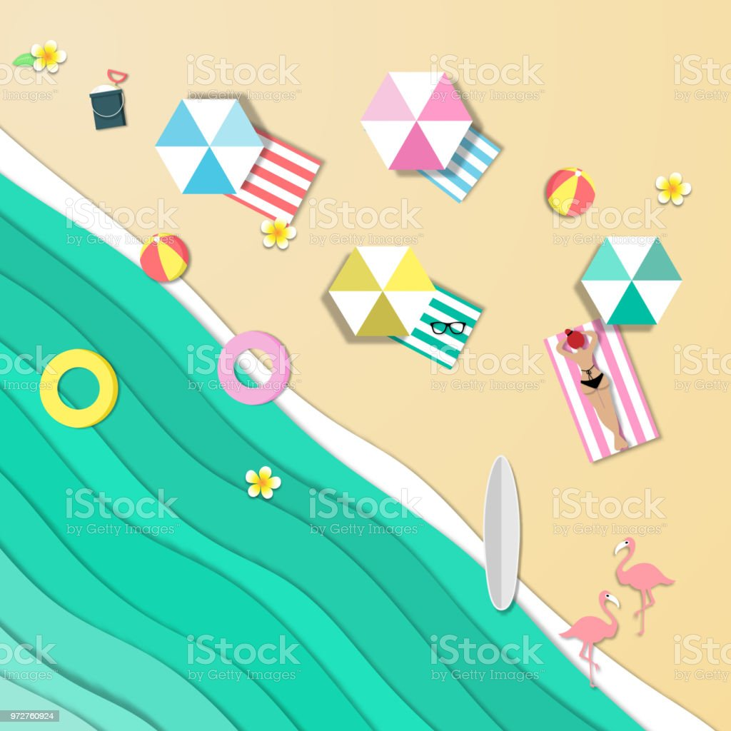top view beautiful beach background , ocean or sea of summer beach in paper craft style.paper cut style. vector. vector art illustration