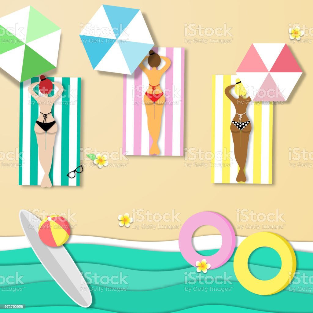 top view beautiful beach background , sexy lady, bikini, swimming dress, ocean or sea of summer beach in paper craft style.paper cut style. vector. vector art illustration