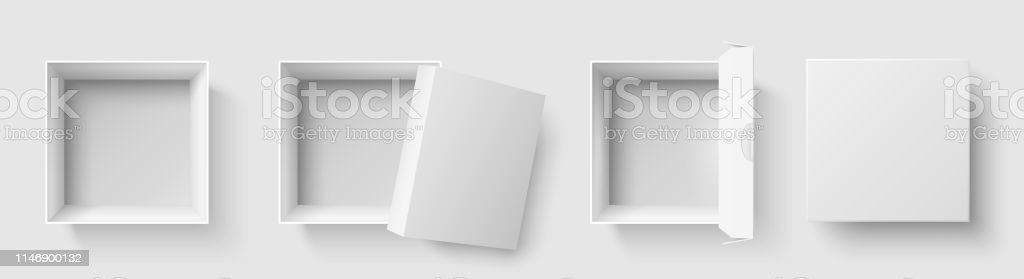 Top view box. Open package square boxes with open cap, empty packages...