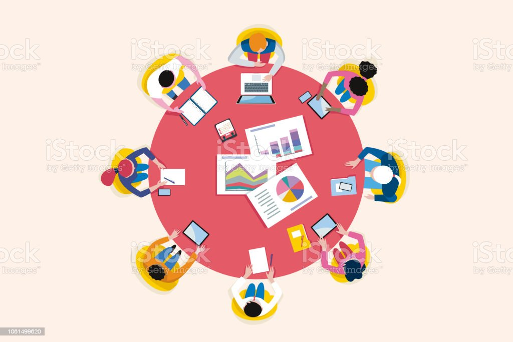 Top View Business Meeting Arround Circular Table - Royalty-free Adulto arte vetorial