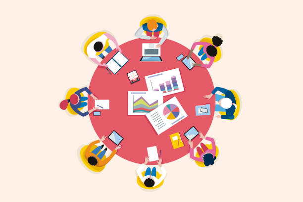 Top View Business Meeting Arround Circular Table Top view business meeting arround a circular table. Vector illustration. collaboration stock illustrations