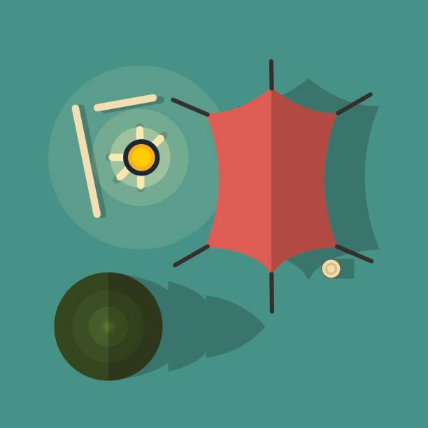 Ansicht von oben. Camping mit Zelt und Lagerfeuer. – Vektorgrafik