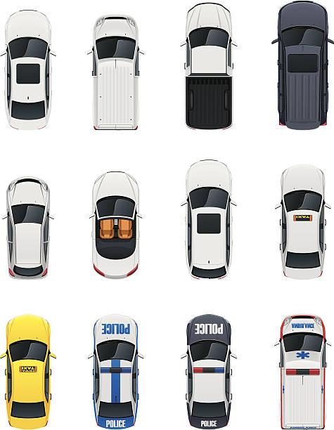 ilustraciones, imágenes clip art, dibujos animados e iconos de stock de conjunto de coches vista superior - overhead