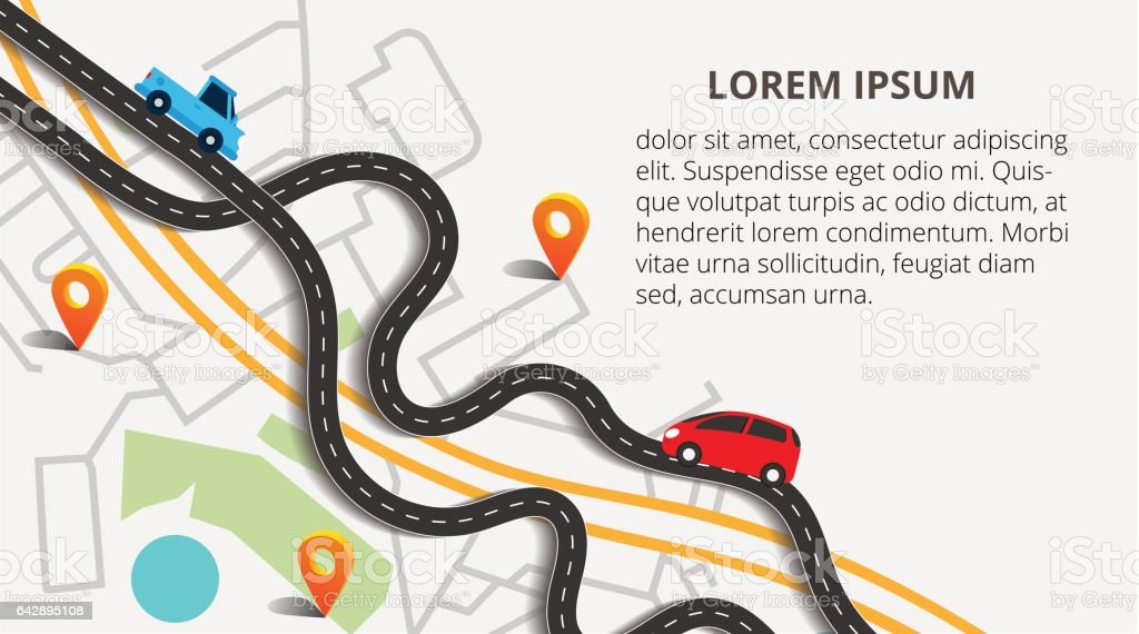 Top view city map with winding roads. Street Map with navigation icons. Navigation concept. Vector illustration can used for web banner and info graphic. vector art illustration