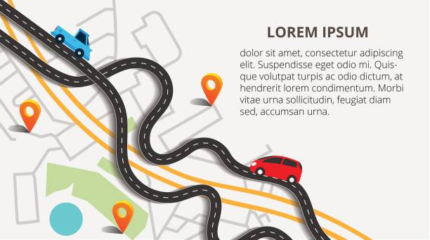top view city map with winding roads. street map with navigation icons. navigation concept. vector illustration can used for web banner and info graphic. - europe travel stock illustrations, clip art, cartoons, & icons