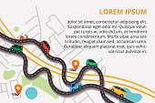 Top view city map with winding roads. Street Map with navigation icons. Navigation concept. Vector illustration can used for web banner and info graphic.
