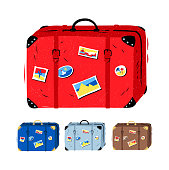 Top view collection of summer vacation suitcases