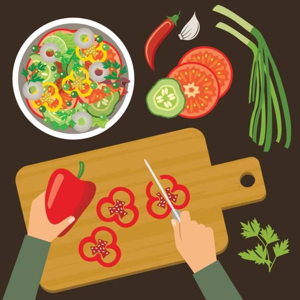 stockillustraties, clipart, cartoons en iconen met bovenaanzicht koken. voorbereiding van salade van groenten - tafel restaurant top