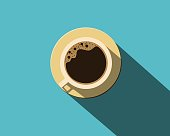 Top view cup of coffee.