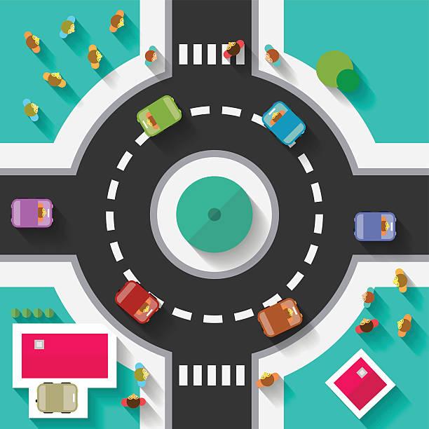 illustrations, cliparts, dessins animés et icônes de vue aérienne de design plat rond-point carrefour - rond point