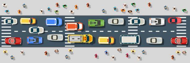 ilustrações de stock, clip art, desenhos animados e ícones de top view from above - carro na rua