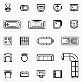Top view furniture icons