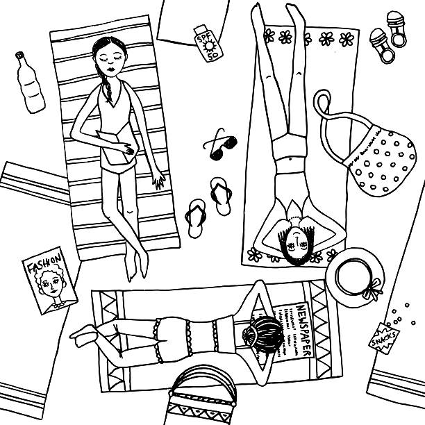 stockillustraties, clipart, cartoons en iconen met top view illustration of girls at the beach - newspaper beach