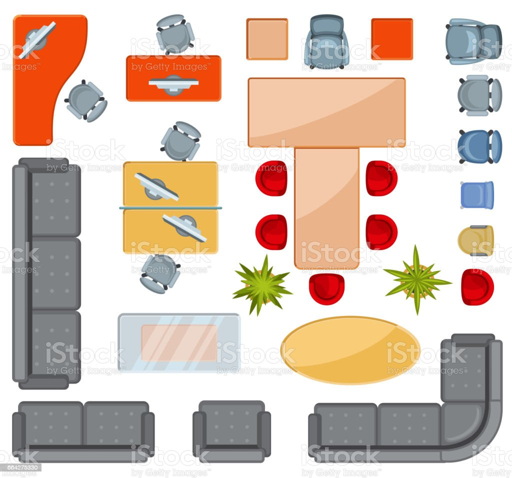 Furniture top view images - Top View Interior Furniture Icons Flat Vector Icons Royalty Free Stock Vector Art