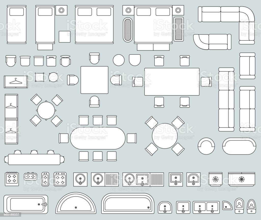 Top view interior with line furniture icons vector set