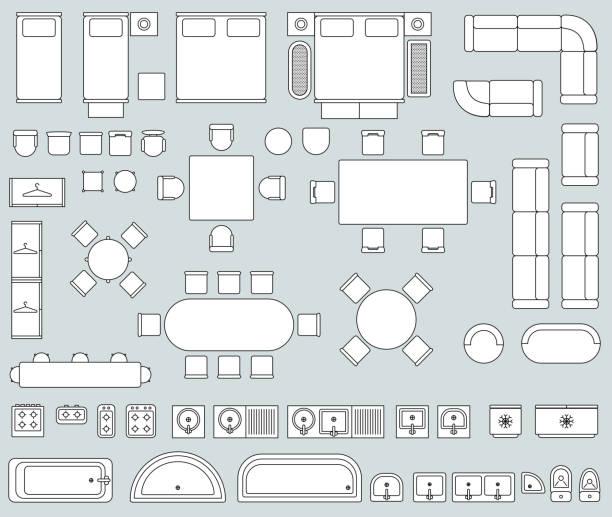 Intérieur de la vue de dessus avec jeu de ligne meubles icônes vectorielles - Illustration vectorielle