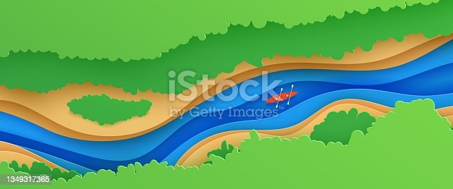 istock Top view landscape in paper cut style. Eco tourism 3d background with aerial view river green trees and kayak boat. Vector card illustration of extreme rafting sport vacation adventure papercut art 1349317365