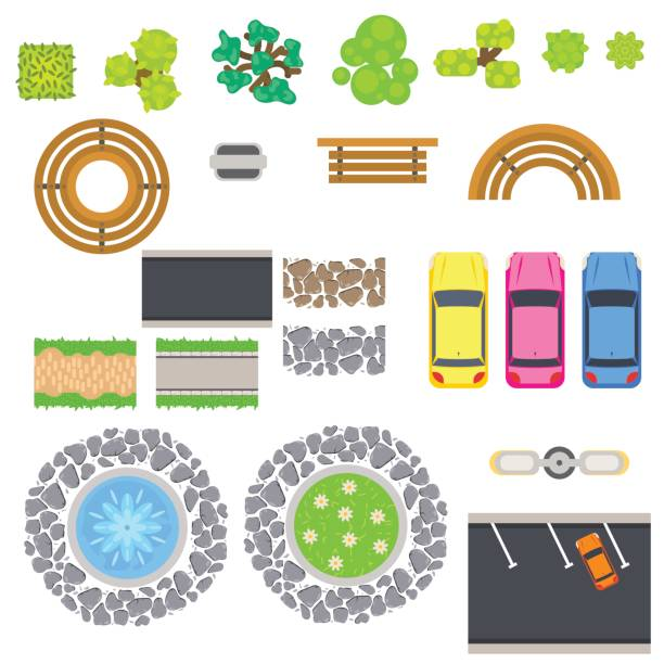 top view landscape vector isolated objects - fontanna stock illustrations