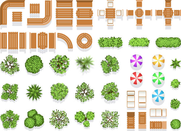 top view landscaping architecture city park plan vector symbols, wooden benches and trees - architecture symbols stock illustrations