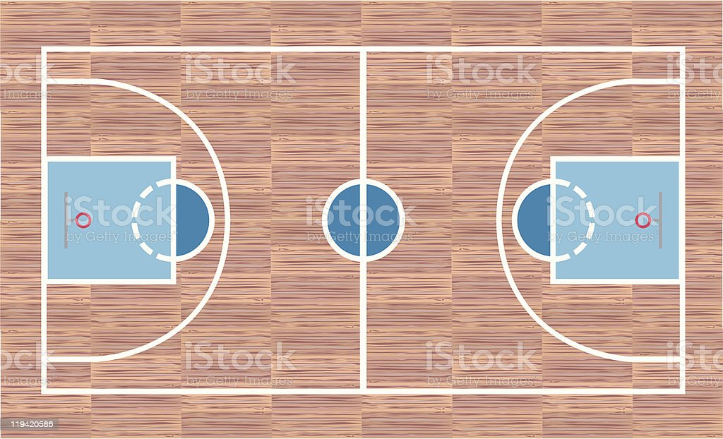 Top view of a basketball court vector art illustration