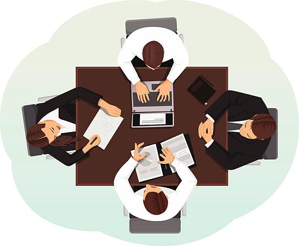 illustrazioni stock, clip art, cartoni animati e icone di tendenza di vista dall'alto di business team - business meeting, table view from above