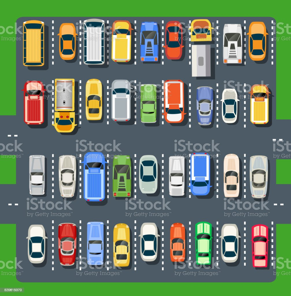 Top view of a city parking vector art illustration