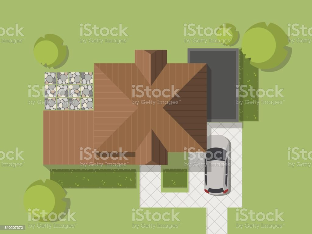 Top view of a country with house, courtyard, lawn and garage. Top view of a house. Vector illustration. vector art illustration