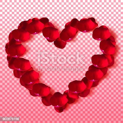 Top view of a heart made from realistic rose petals. Vector illustration.