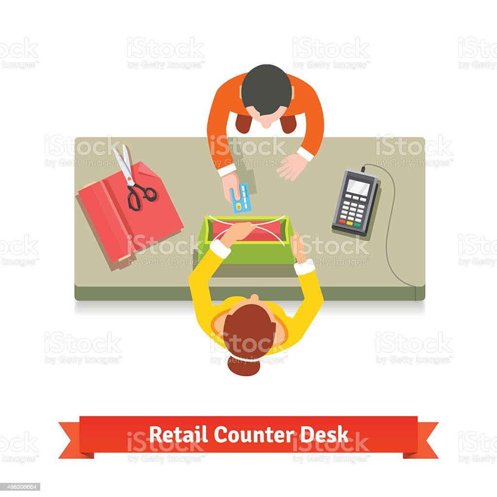 Top view of a retail sale. Clerk and customer vector art illustration