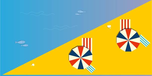 Top view of a summer beach vector art illustration