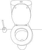 A line drawing of a toilet bowl.