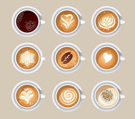 Top view of aromatic cups with tasty coffee