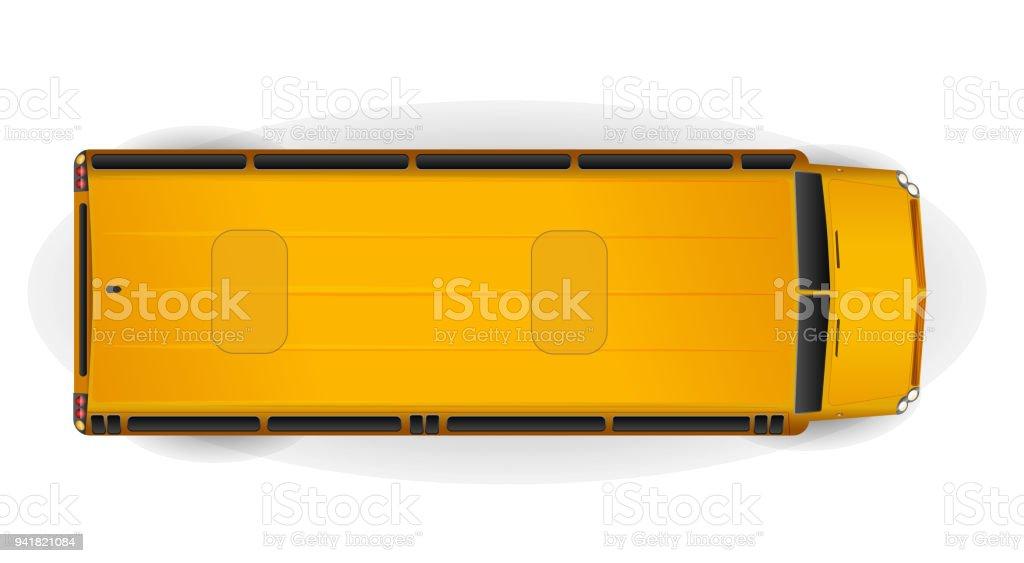 白で隔離明るい黄色の現実的な学校バスのトップ ビュー ベクターアートイラスト
