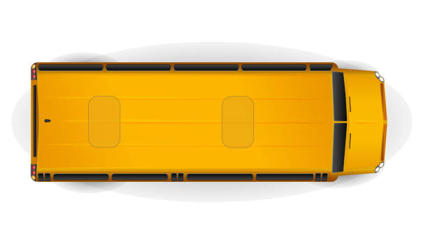 Top view of bright yellow realistic school bus isolated on white vector art illustration