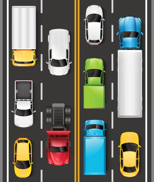 Top view of cars and trucks on the road. Cars are driving on the highway. Traffic on the road. Vector illustration Top view of cars and trucks on the road. Cars are driving on the highway. Traffic on the road. Vector illustration hatchback stock illustrations