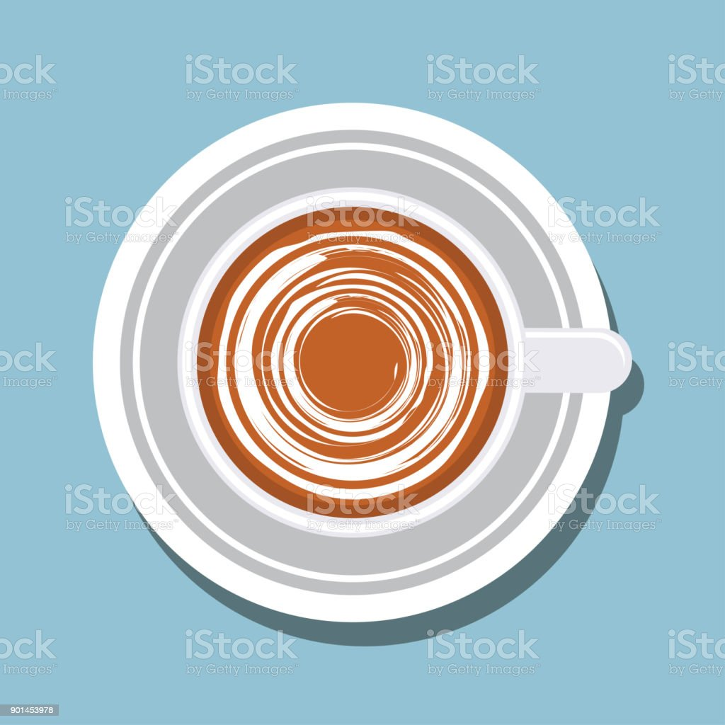 top view of chocolate latte art. vector illustration vector art illustration