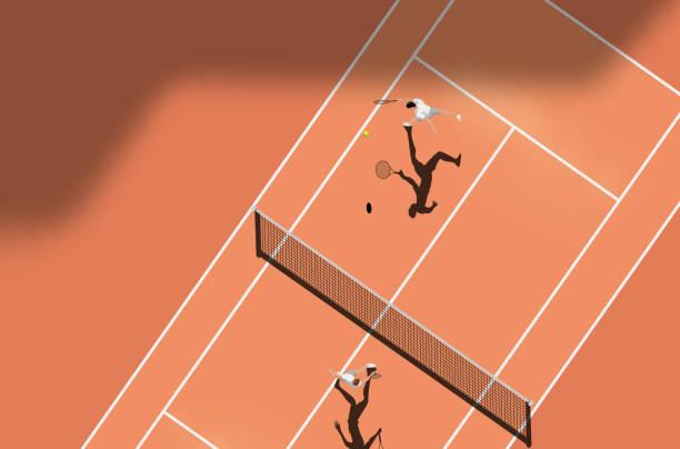 Top-Ansicht von Clay Court Tennis Match – Vektorgrafik
