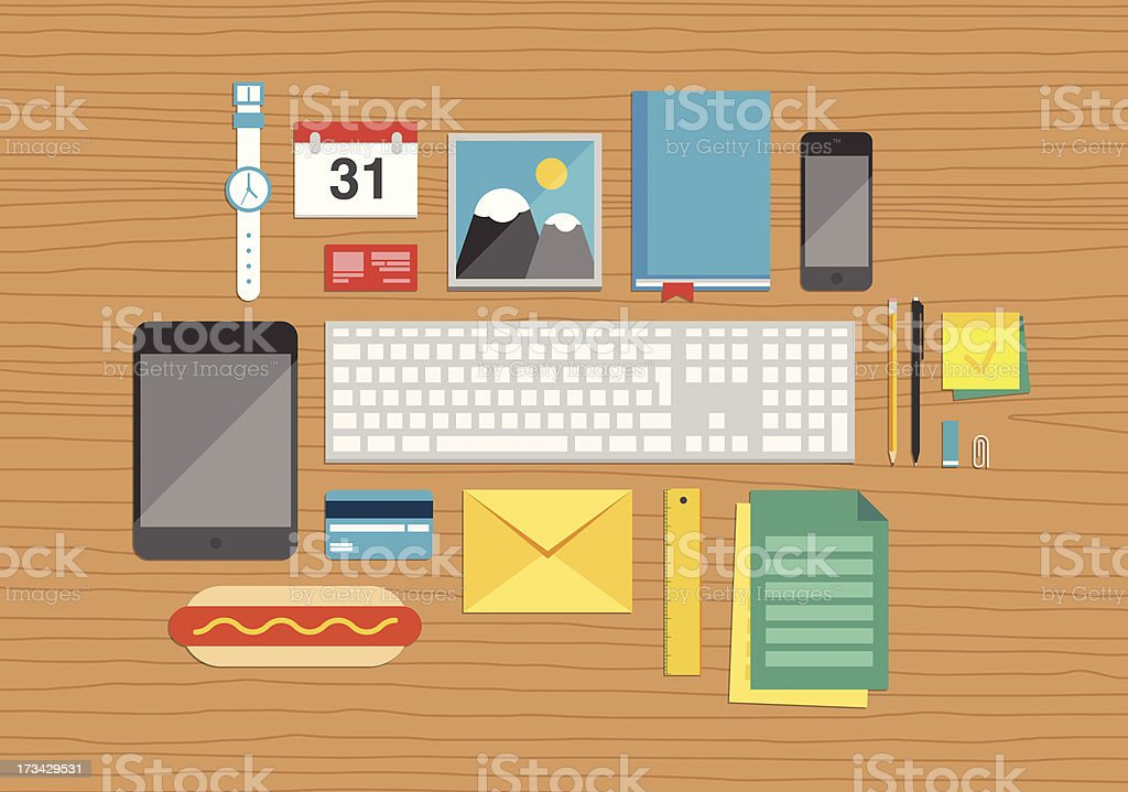 Top view of desk with business and office elements royalty-free top view of desk with business and office elements stock vector art & more images of adhesive note