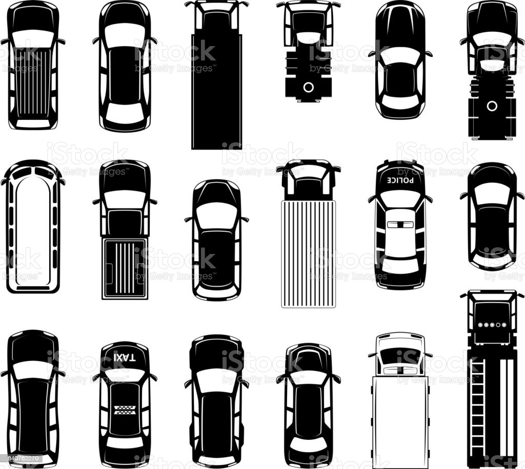 Top View Of Different Roof Cars On The Road Black Vector