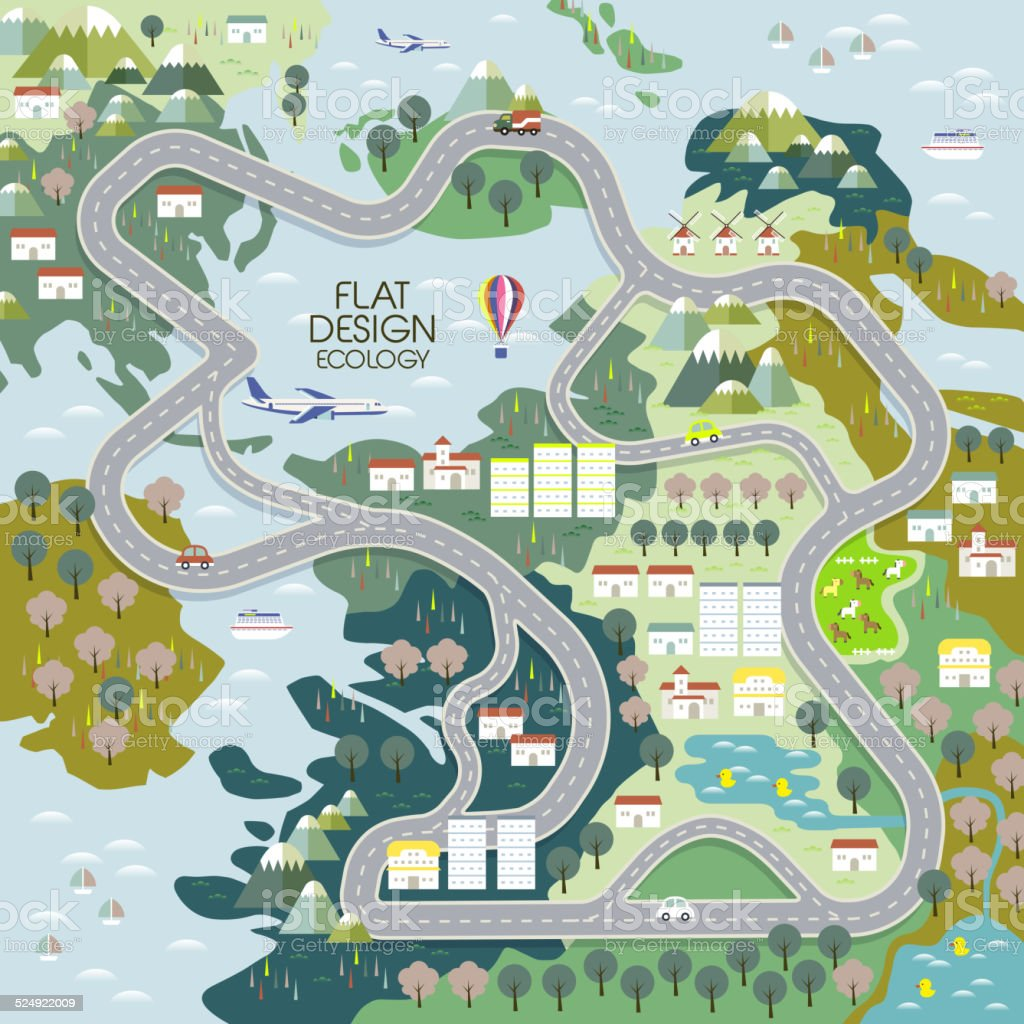 top view of ecology concept in flat vector art illustration