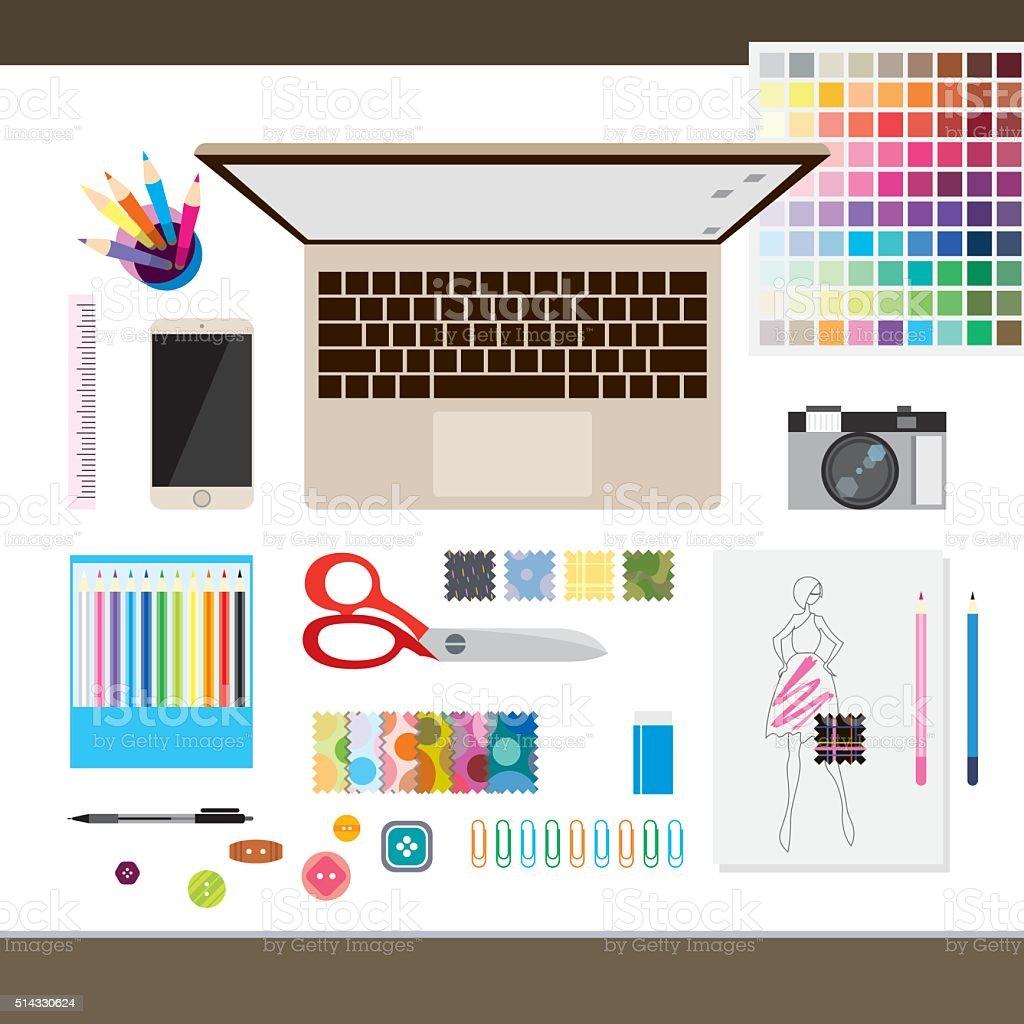 Top view of  fashion designer concept desk vector art illustration
