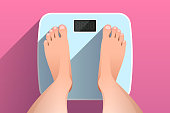 istock Top view of feet of woman standing on bathroom scales 1262964691