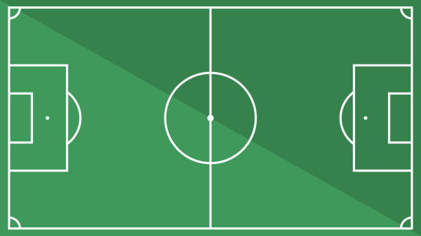 top view of football field with shadow illustration. vector of soccer ground background - football field stock illustrations